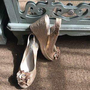 Wedge peep toe espadrilles
